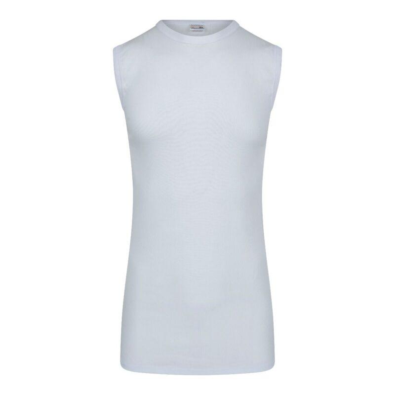 Beeren Heren Extra Lang Mouwloos T-Shirt Wit Achterkant