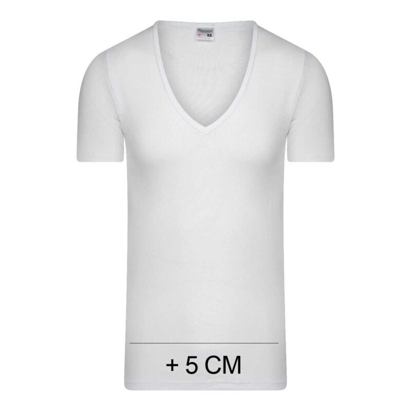 Beeren Heren Extra Lang T-Shirt diepe V-hals M3000 Wit