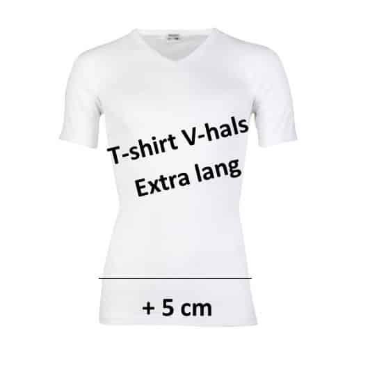 extra lang t shirt v hals wit