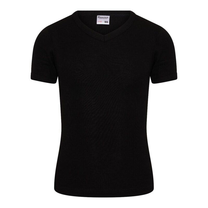 Beeren Jongens Shirt V-Hals Korte Mouwen M3000 Zwart