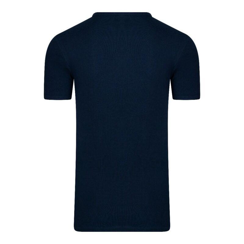 Beeren Extra Lang T-Shirt V-hals Marine achterkant