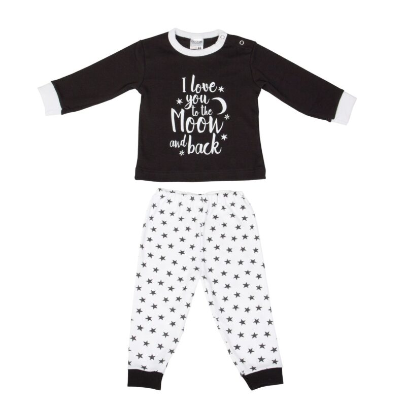 Baby Pyjama To The Moon Zwart