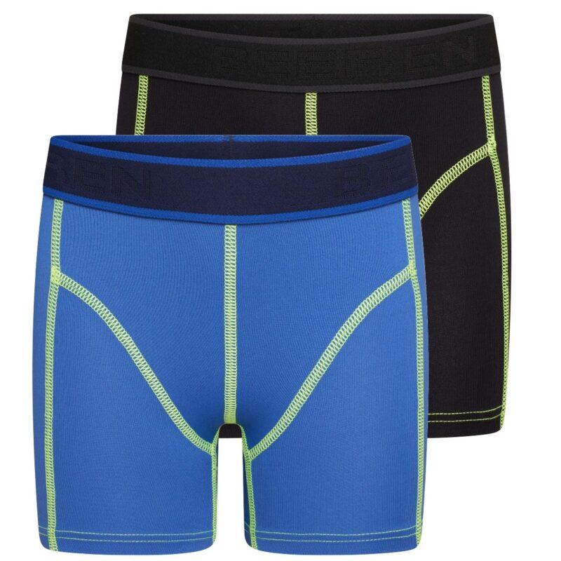 Beeren 2-Pack Mix and Match Jongens boxershorts Uni Blauw Zwart