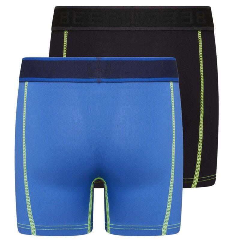 Beeren 2-Pack Mix and Match Jongens boxershorts Uni Blauw Zwart achterkant